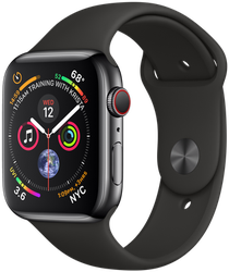 Apple Watch Series 4 44mm (Unlocked) [A1976 - Cellular], Stainless - Black
