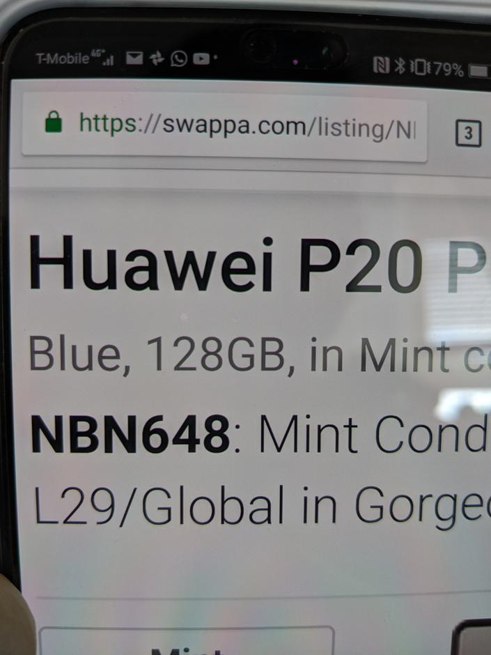 Huawei P20 Pro (Unlocked) For Sale - $749 on Swappa (NBN648)
