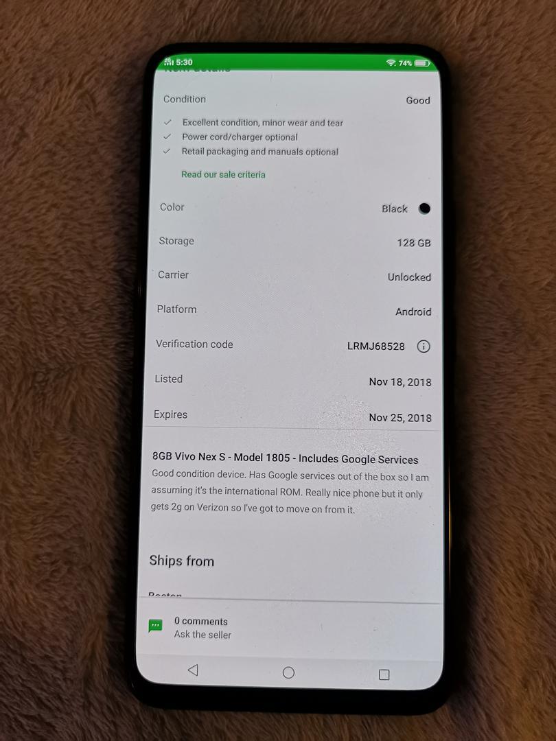 Vivo NEX S (Unlocked) - Black, 128 GB