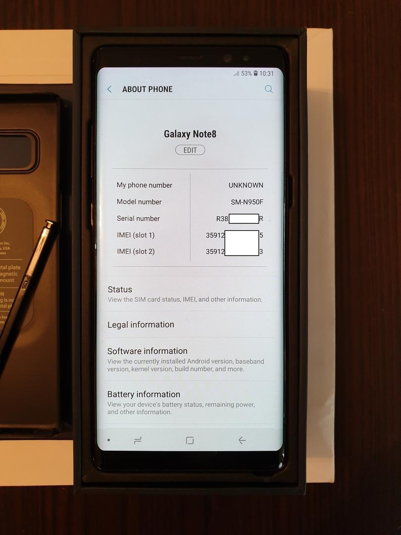 Samsung Galaxy Note 8 (Unlocked Non-US) [SM-N950F/DS], Duos - Black, 64 GB