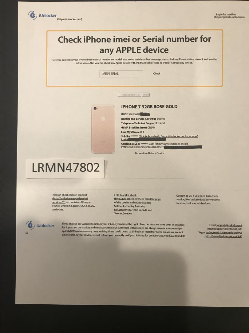 Apple iPhone 7 (Unlocked) [A1660] - Rose Gold, 32 GB
