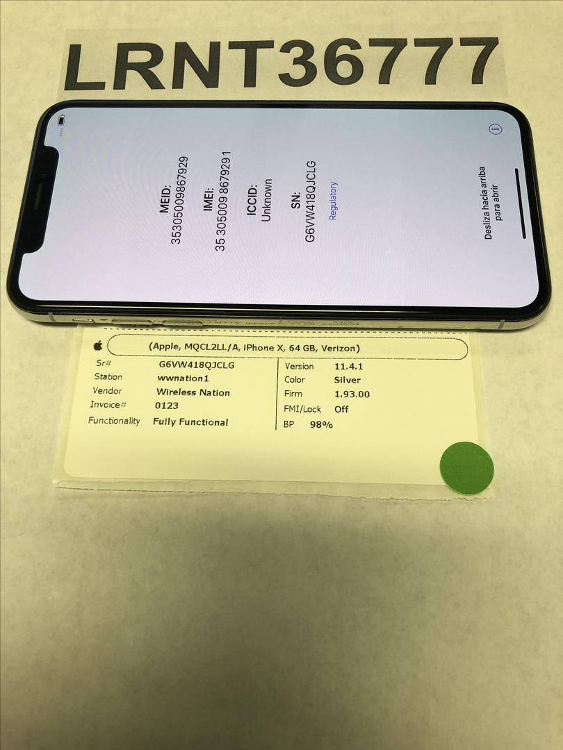 Apple iPhone X (Verizon) [A1865] - Silver, 256 GB