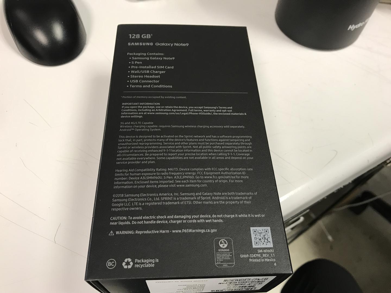 Samsung Galaxy Note 9 (Sprint) [SM-N960U] - Black, 128 GB, 8 GB